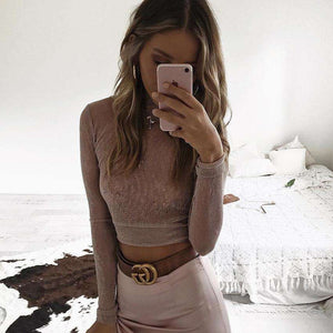 Mock Neck Glitter schiere Crop Top - Lupsona