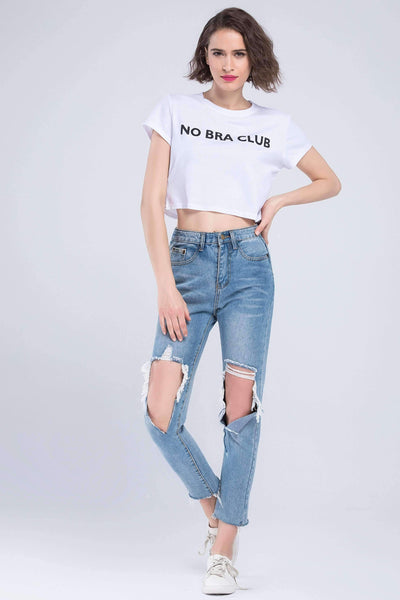 NO BRA CLUB Funny Printed Crop Top
