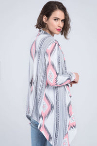 Aztec Print Irregular Cotton Cardigan - Lupsona