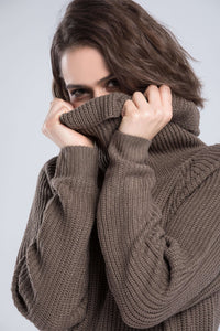 High Collar Warm peysa kjóll - Lupsona