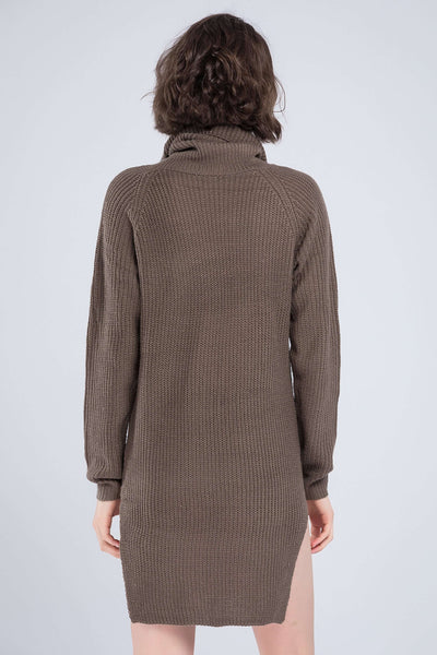 High Collar Warm Sweater Dress - Lupsona