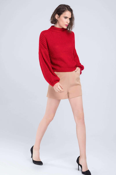 Lantern Sleeve Lose Sweater - Lupsona