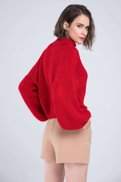 Lantern Sleeve Loose Sweater - Lupsona