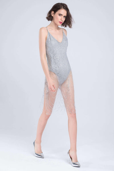 Blingbling lovertjes See-though Sling bodysuit jurk - Lupsona