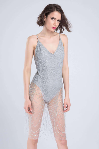 Blingbling Sequined See-though Sling Bodysuit Dress - Lupsona
