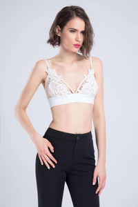 Floral Útsaumur Patch Mesh Triangle Bralette Top - Lupsona