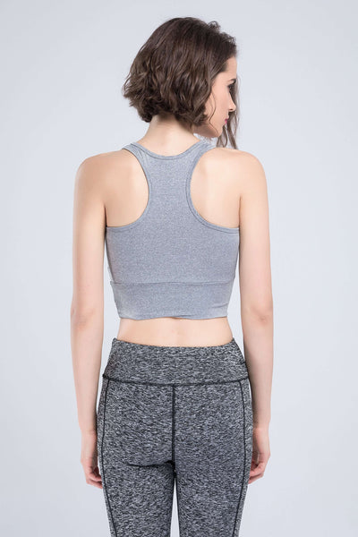 Gauze Patchwork Bustier Sports Tank Top - Lupsona