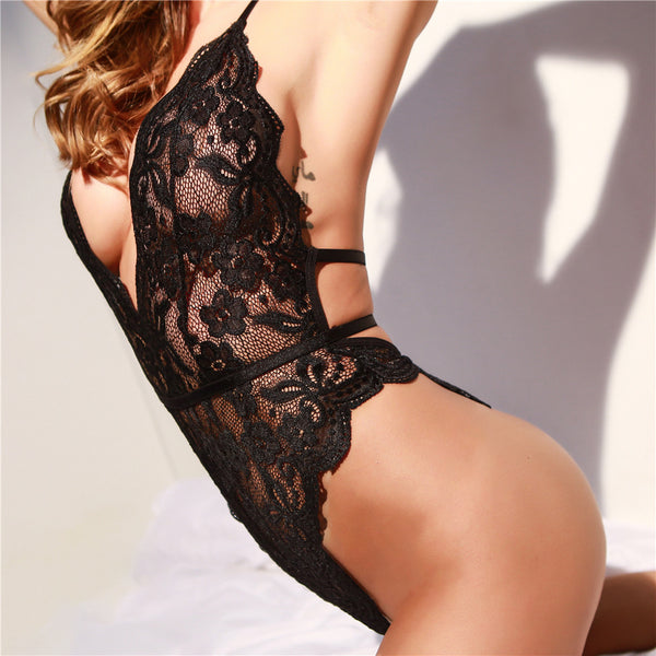 Lace halter deep v backless slim bodysuit