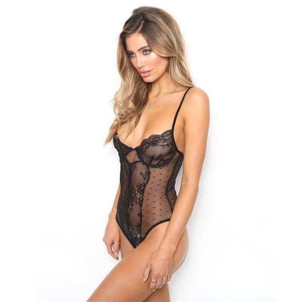 See-through Floral Lace Polka Dot Bodysuit Lingerie
