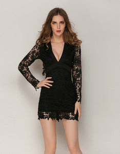 deep v backless lace patchwork slim dress