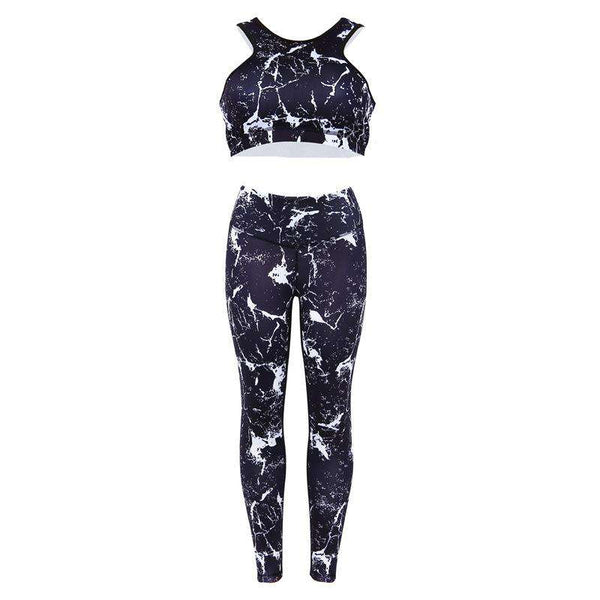 Marmer Print Yoga Sports 2 Pieces Set
