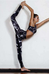 Marble Print Yoga Sports 2 Pieces Set - Lupsona