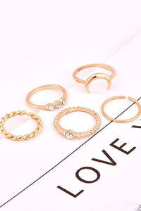 Chic Crescent Diamond Ring Set - Lupsona