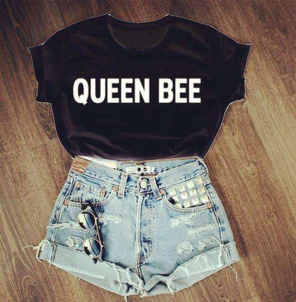 QUEEN BEE Caracterul Cool Bumbac T-shirt - Lupsona