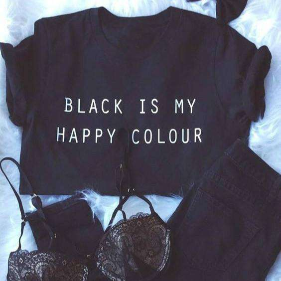 BLACK IS MY COLOR HAPPY Casual T-shirt - Lupsona