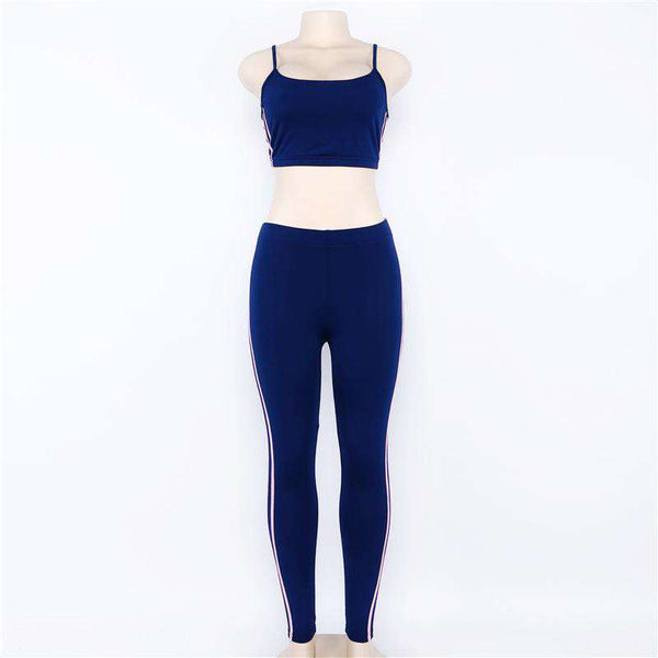 Skinny Side Striped Two-pieces Yoga Set