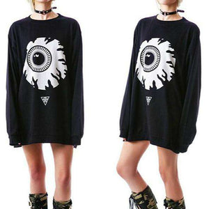 Punk Eyeball Pattern Loose Mikina - Lupsona