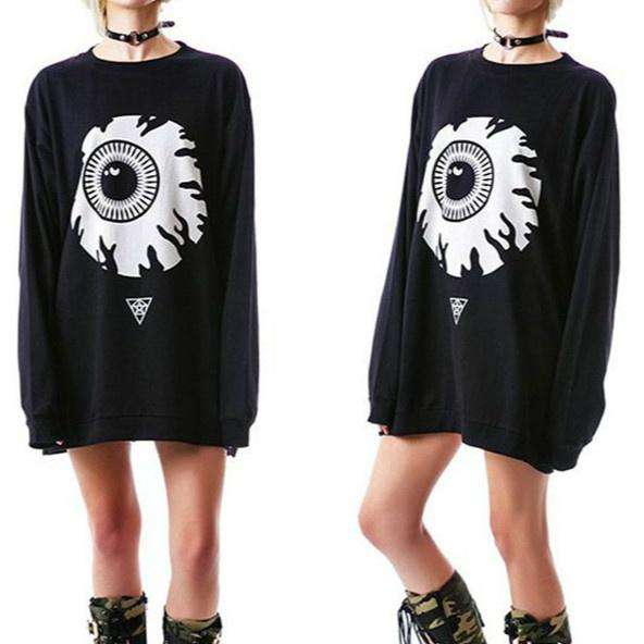 Punk Eyeball Pattern Loose mikina