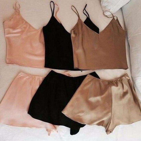 Silky Vest Casual Shorts 2 Piece Set