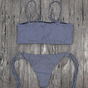 Gingham Side Tie-up 2 Kousky Bikini Set - Lupsona
