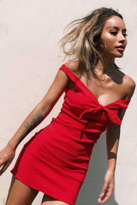 bowknot strappy knitted solid color dress - Lupsona