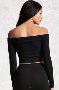 4 Colors Off-the-shoulder Front Zipper Crop Top - Lupsona