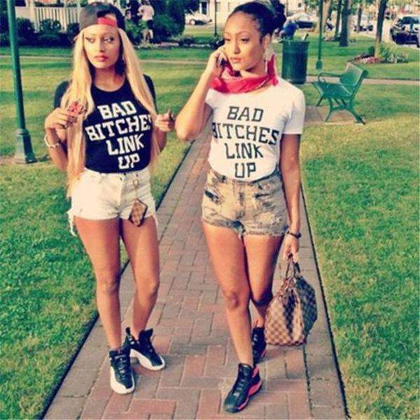 BAD BITCHES LINK UP Camiseta casual - Lupsona