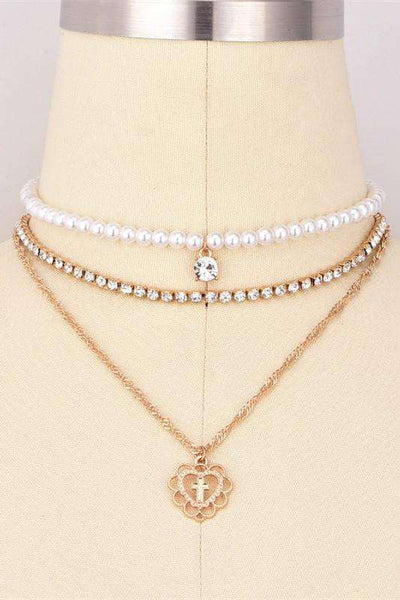 Full Pearls Rhinestones Cross Pendant Multi-layer Necklace Set - Lupsona