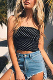 Polka Dots Pattern Elastic Tube Crop Top