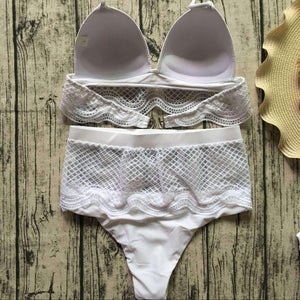 Bikiny Set White Hollow Out Lace High List - Lupsona