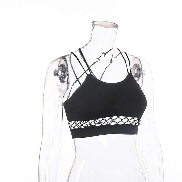 Fishnet Patch Strappy Sports Bra Top - Lupsona