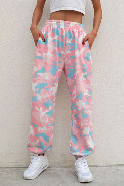 Pink Camouflage Print Cool Jogger Pants
