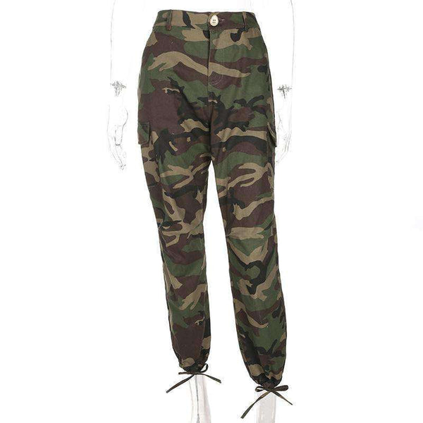 Camouflage Print Ankle-tied Pants - Lupsona