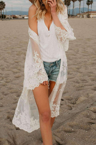 Lace Broderi Bikini Cover-up Cardigan