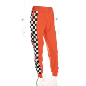 Side Zipper Checkerboard Pattern Casual Pants - Lupsona