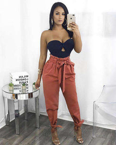 Belted High Waist Ankle Lace Up Casual Løse Bukser - Lupsona