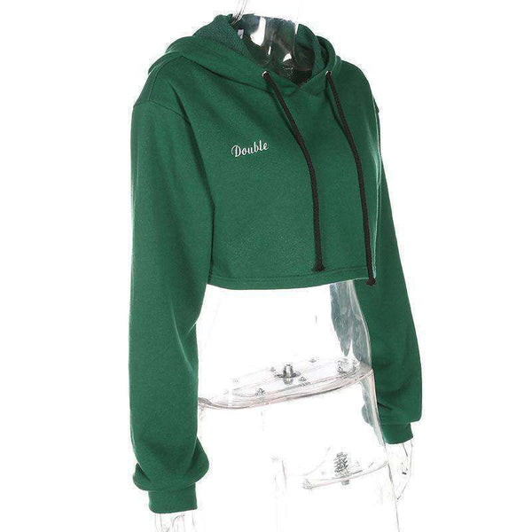 Letters Embroidery Cropped Hoodie Top - Lupsona