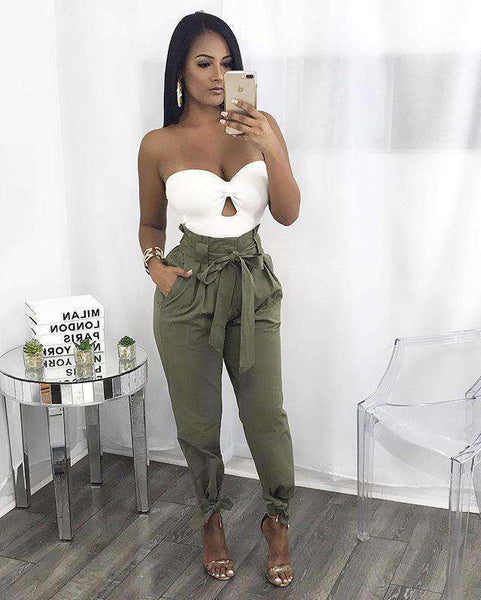Belted High Waist bokacsizma Lace-up Casual Loose Pants - Lupsona
