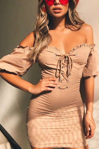 Retro Lace-Up Off-The-Shoulder Package Hip Mini Dress