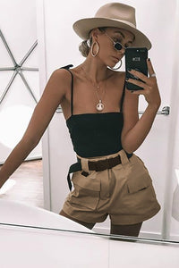 Pocket Cargo High Waist Casual stuttbuxur