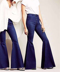 Chic High Waist Bell-bottoms Denim Jeans - Lupsona