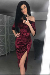Off The Shoulder Frilled High Slit Irregular Velvet Dress - Lupsona