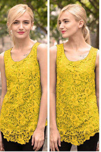 7 Colours Blumme Lace Sleeveless Blouse - Lupsona