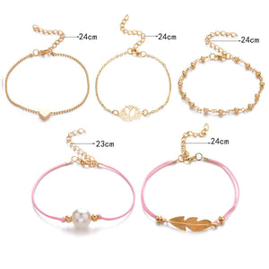 Chic Leaf Heart Bracelets Set - Lupsona