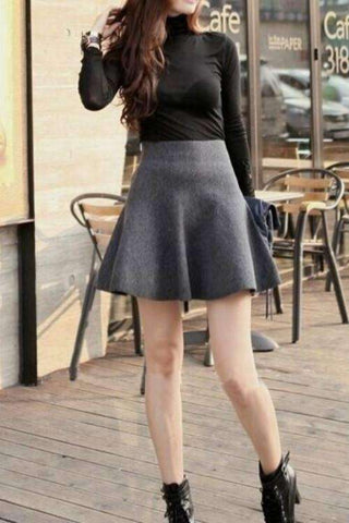 Strikket High Waist Bubble Skirt