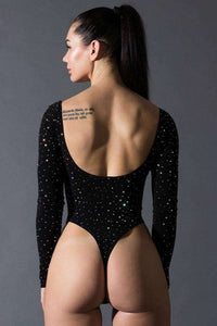 sparkle backless slim bodysuit - Lupsona