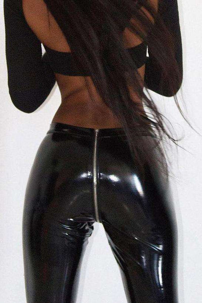 Sexy Butt Zipper Patent Leather Skinny Pants