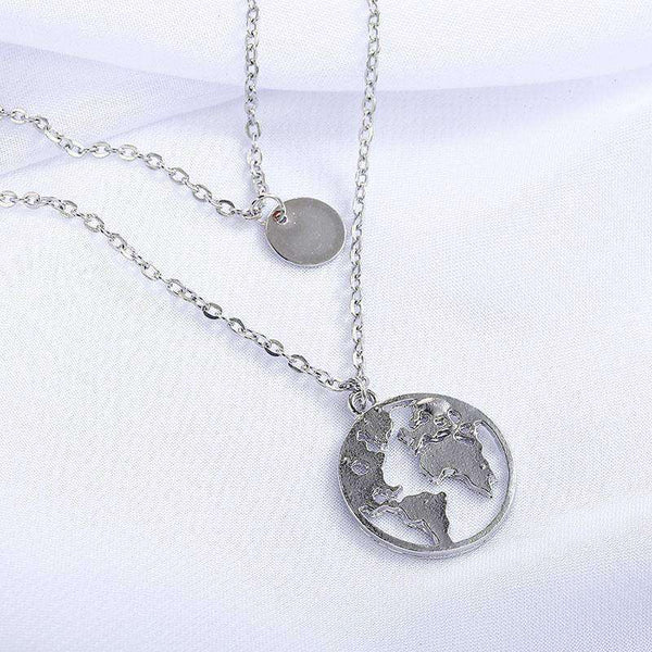 World Map Pendant Collarbone Necklace