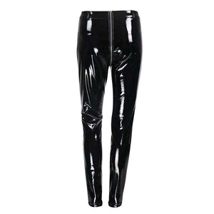 Sexy Skinny Zipper Leather Skinny Pants - Lupsona