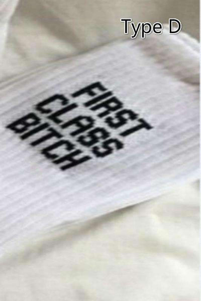 cool letters embroidered white cotton socks - Lupsona